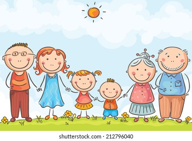 Happy family with two children outdoors