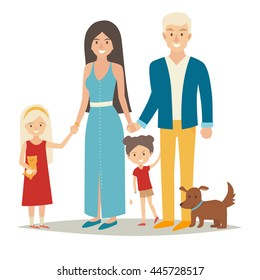 Happy family with two kids and dog. Cartoon caracters people group: mother, father and sisters. Family couple and children. Flat style vector illustration isolated on white background