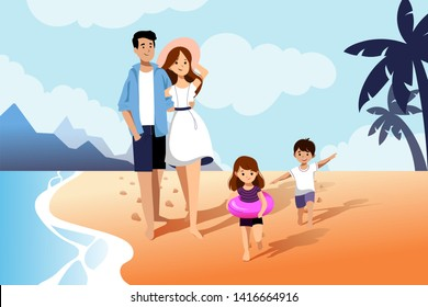 Happy family with two kids enjoy summer vacation on seaside. Summer travel and leisure on sea beach. Vector flat cartoon illustration.