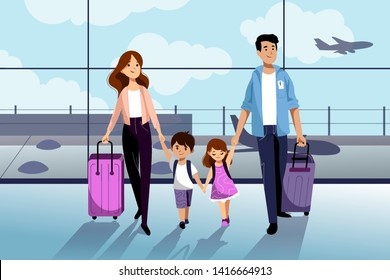 Happy family with two kids going to their summer vacation. Family travel by airplane. Young woman, man, boy and girl in airport. Vector flat cartoon illustration.