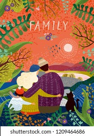 happy family, vector cute illustration of a loving family in nature outdoors, enjoying the sunset surrounded by flowers and plants; mother, father, child and cat sit back and hug in autumn or spring