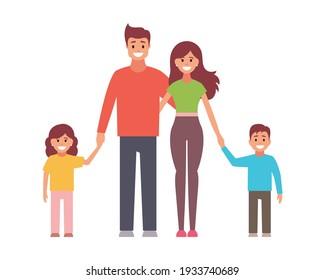 Happy family. Vector flat design illustration on white background.