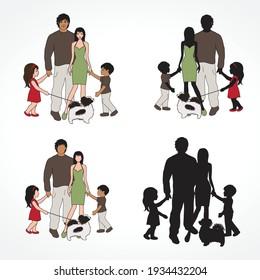 happy family, vector graphic design element