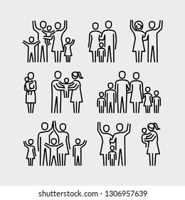 Happy Family Vector Icons