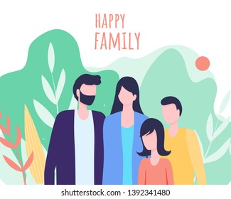 Happy Family Vector Illustration. Father Mother Daughter Son Family Values Cartoon Character People Together Outdoor Holiday Celebration. Mom Dad Parents Children Relationship Love Care