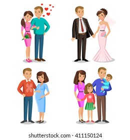 Happy family vector illustration. Young couple, wedding couple, husband and wife, couple expecting a baby.