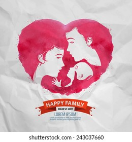 happy family vector logo design template. motherhood or child icon.