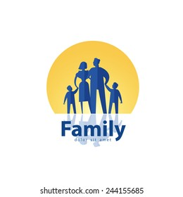 happy family vector logo design template. people or society icon.