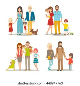 Happy family vector set. Cartoon character: mother, father, brothers, sisters, twins, dog. Young hipster family group which children. Illustration isolated on white background