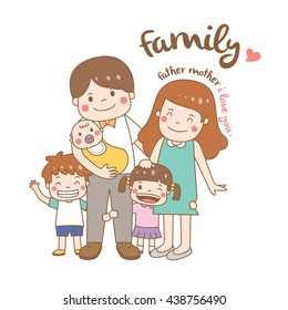 happy family vector with stroke : illustration : character