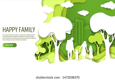 Happy family vector website template, web page and landing page design for website and mobile site development. Paper cut green with white eco city and family with two kids silhouettes.