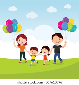 Happy family walking with balloons. Vector illustration of a cheerful family having fun with balloons.