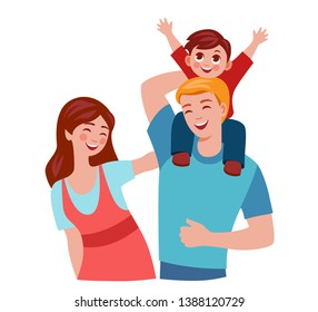 happy family walking with a child, son sitting on shoulders of father. dad carrying a child on his shoulders.