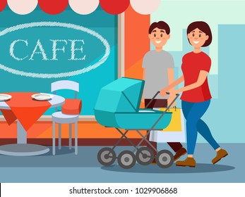 Happy family walking in city center. Young mother pushing baby carriage, father carrying shopping bags. Cafe facade on background. Cartoon people. Flat vector design