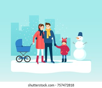 Happy family walking outdoors in winter. Vector illustration.