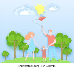 Happy family walking in a park with kid. Vector illustration in paper art origami style. Happy mother and father day poster. Paper cut craft design.