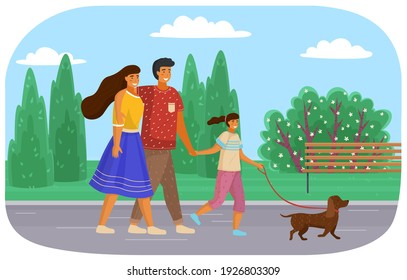 Happy family walking together with small dog along road sunny day. Mother, father and daughter family weekend, people walk with pet in summer park. Parents spend time with their child outdoor