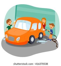 Happy family washing car in garage in vector
