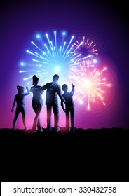 A happy family watching a fireworks display. Vector illustration.