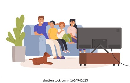 Happy family watching tv together vector flat illustration. Smiling cartoon mother, father and children relaxing at cozy living room. Home entertainment concept isolated on white background.