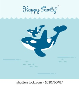 Happy family whales swimming underwater. vector illustration.