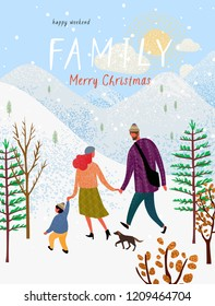 happy family in winter, vector illustration of a loving family in nature outdoors, mom, dad, child and dog walk among the mountains, trees and fir trees, cute postcard for Christmas and New Year