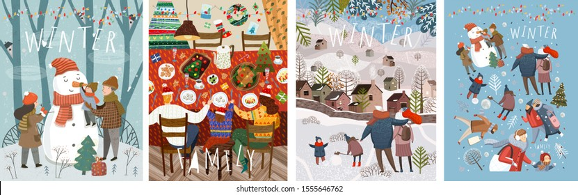 Happy family in the winter. Vector illustrations of mother, father and child on the street making a snowman at home at the festive Christmas and New Year table and walking for a walk in nature.