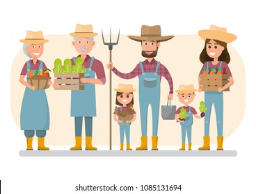 happy farmer family cartoon character in organic rural farm. vector illustration