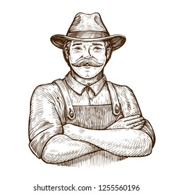 Happy farmer in the hat. Vintage sketch vector illustration