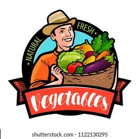 Happy farmer holding wicker basket with vegetables. Cartoon vector illustration