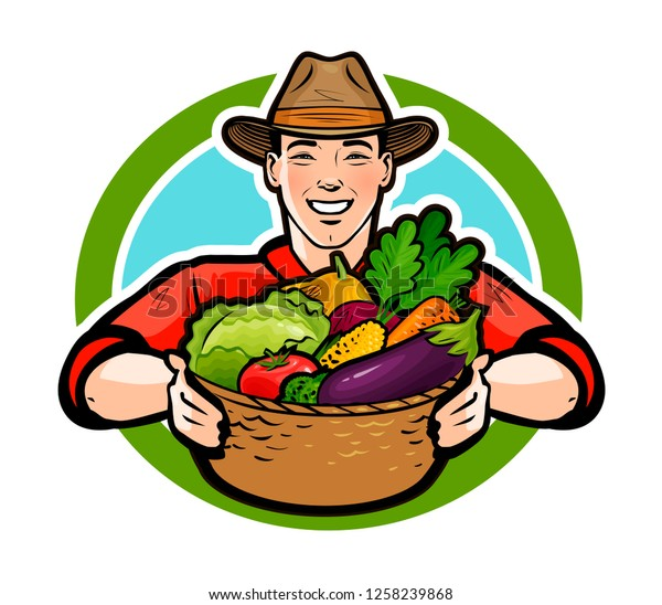 Free Clipart Of A retro happy farmer