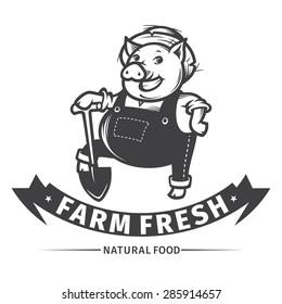 Happy farmer pig with shovel, farm fresh design