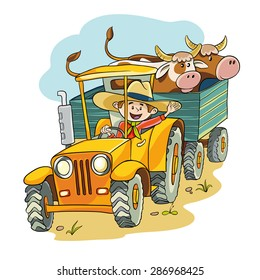 happy farmer rides on the tractor in the trailer he had two cows