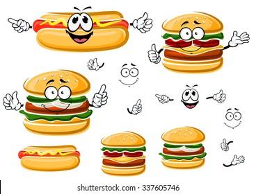 Happy fast food hamburger, hot dog and cheeseburger cartoon characters. For takeaway and fast food menu design