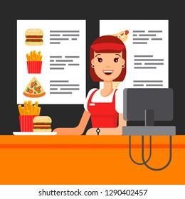 Happy fast food saleswoman in uniform with cash register. The snack seller in luncheonette, hamburger french fries pizza - flat vector illustration