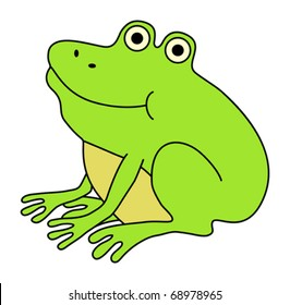 Happy fat frog. Funny cartoon illustration.
