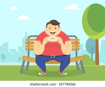 Happy fat man eating a big sweet donut sitting in the park on the bench. Flat concept illustration of bad habits