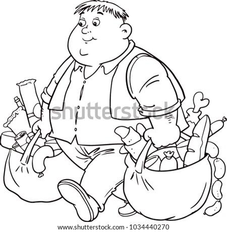 Happy Fat Man Funny Cartoon Character Stock Vector Royalty Free