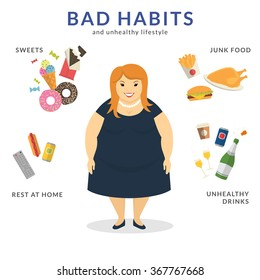 Happy fat woman with unhealthy lifestyle symbols around him such as junk food, sweets, rest at home and unhealthy drinks. Flat concept illustration of bad habits isolated on white
