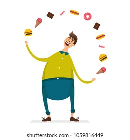 Happy fat young man funny cartoon character with junk food hamburger ice cream chocolate candy donut. Bad habits unhealthy lifestyle obesity vector illustration flat style