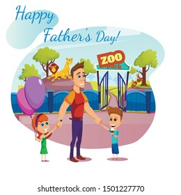 Happy Father Day Banner, Greeting Card, Daddy, Daughter and Son at Entrance to Zoo Park with Lions and Monkeys Behind of Fence, Dad and Children Having Outdoor Leisure Cartoon Flat Vector Illustration