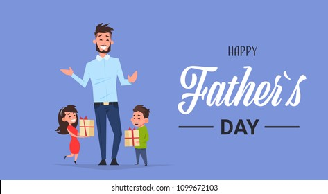 happy father day family holiday african daughter and son present gifts for dad concept greeting card flat