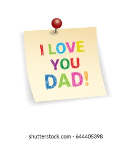 Happy Father Day Family Holiday, Greeting Card Vector Illustration
