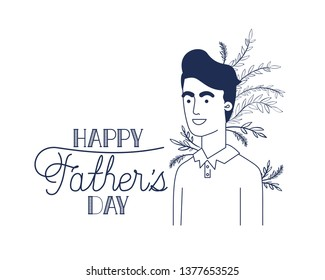 happy father day label with man icon