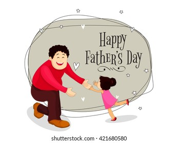 Happy father with his cute little daughter, Elegant Greeting Card design for Father's Day celebration.