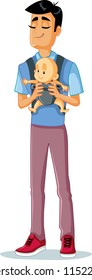 Happy Father Holding Baby in Sling Vector Illustration. Portrait of a single daddy with his cute little child