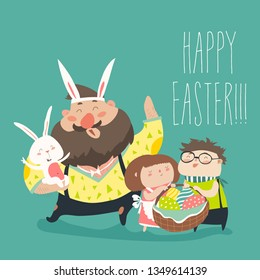 Happy father with kids celebrating Easter. Vector illustration to say happy passover