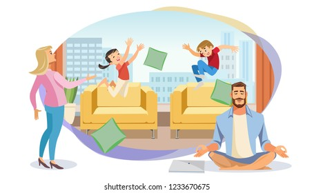 Happy Father in Lotus position surrounded Family. Home Relax Concept with fun Cartoon characters. Vector Illuctration Parent and Children at Living Room modern Interior on White Background