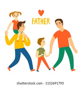 Happy father set. Lovely man with child. Cartoon illustration about family for your design.