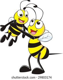 Happy Father and Son Bee